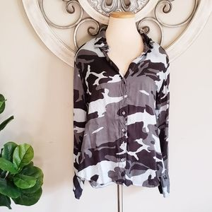 Cino Camo Button Down Long Sleeve Blouse